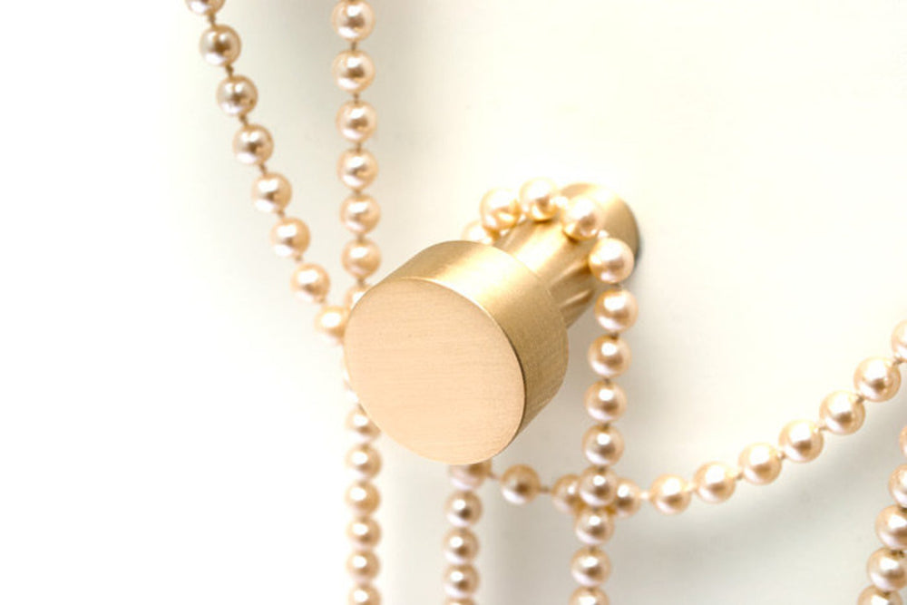 "Modern ""Dot"" Round Wall Hook in Brushed Brass"