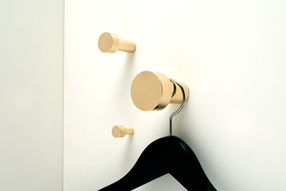 "Modern ""Dot"" Round Wall Hook in Polished Brass"