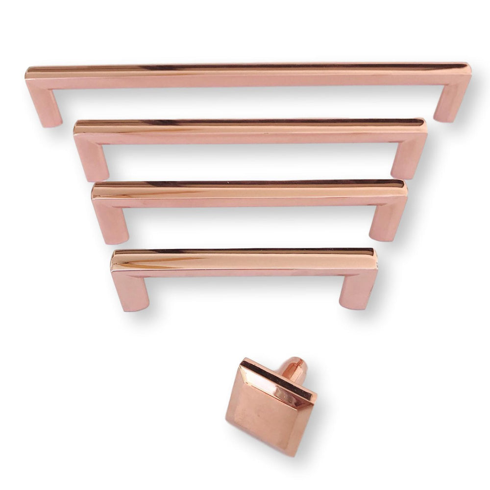 "Polished Copper ""Trane"" Drawer Pulls and Knob"