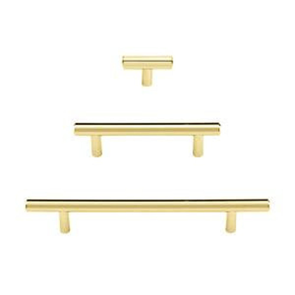 T-Bar Unlacquered Polished Brass Cabinet Knobs and Pulls