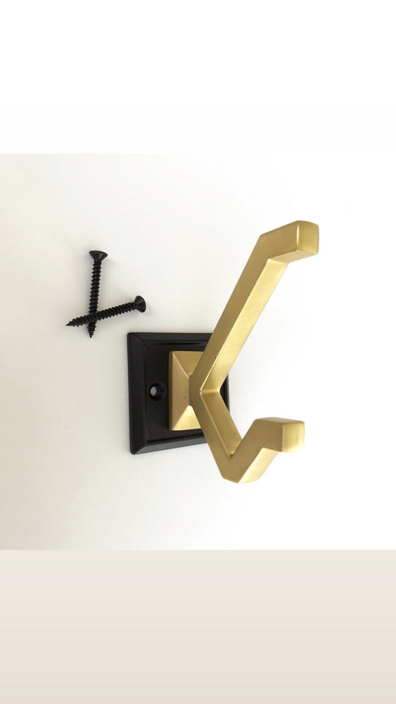 "Modern ""Elle"" Brass and Black Wall Coat and Hat Hook"