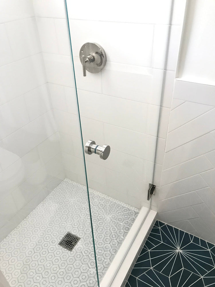 "Glass Shower ""Dot"" Round Polished Nickel Back to Back Door Knob"