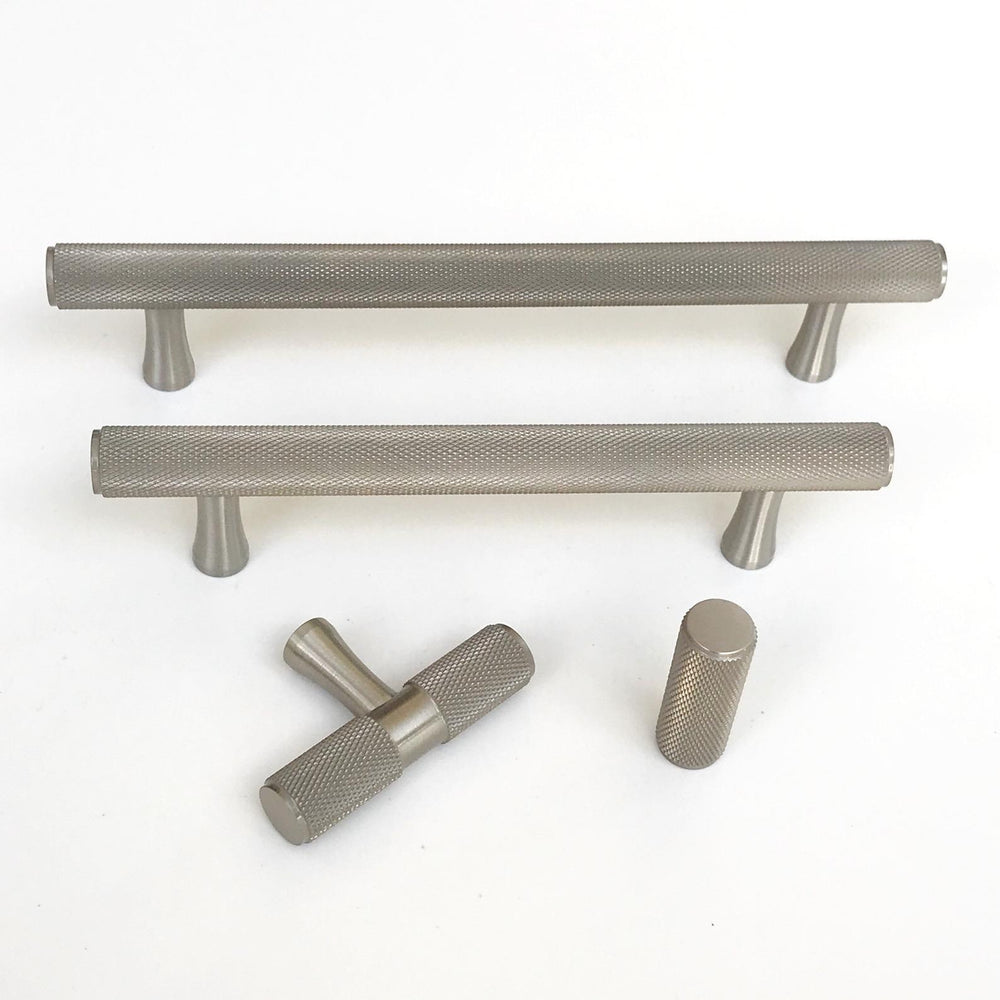 "Brushed Nickel Solid ""Texture"" Knurled Drawer Pulls and Knobs - Brass Cabinet Hardware"