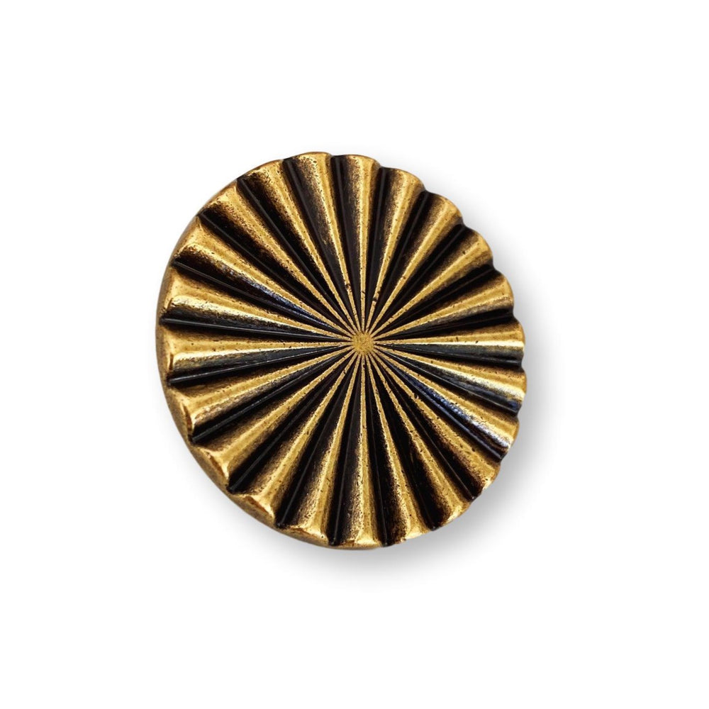 "Reeded Antique Brass ""Daisy"" Round Cabinet Knob"