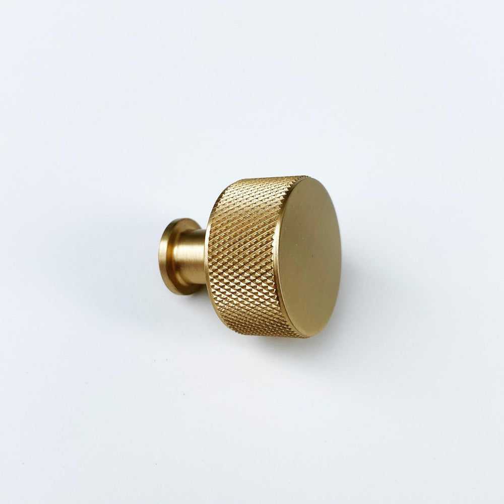 "Backordered-Brass Solid ""Texture No.2"" Knurled Drawer Pulls and Knobs in Satin Brass"