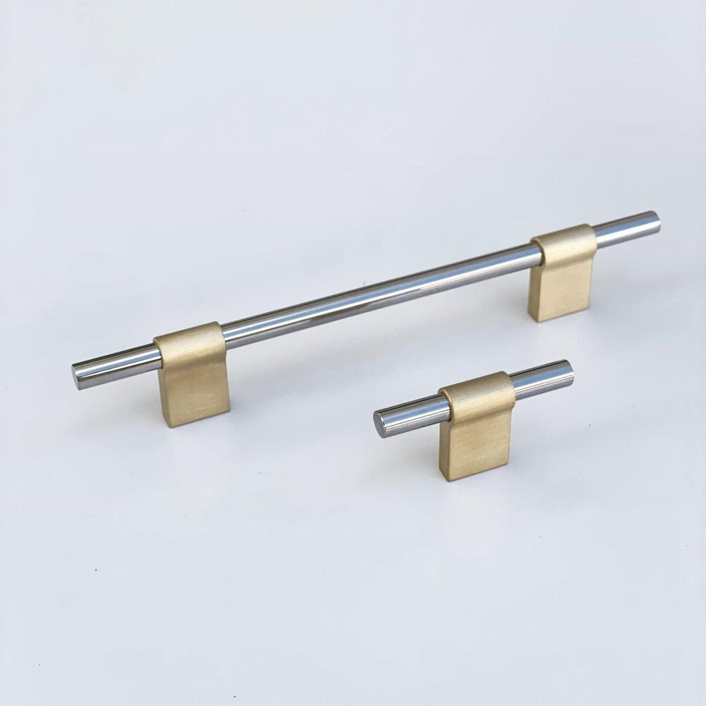 "T-Bar ""Line"" Brass and Nickel  Drawer Pulls Cabinet Hardware"