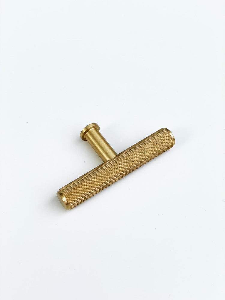 "Brass Solid ""Texture No.2"" Knurled Drawer Pulls and Knobs in Satin Brass"