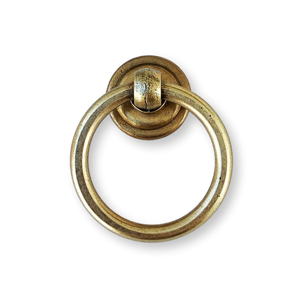 "Round Ring Pull ""Soho"" Cabinet Knob in Aged Brass"