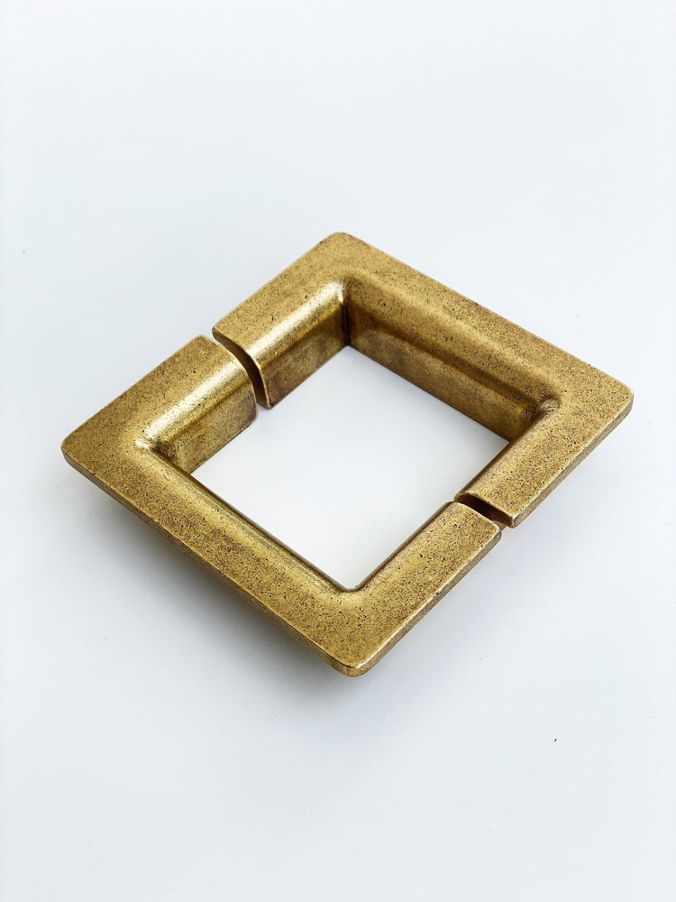 Soho Aged Brass Half-Square Drawer Handles