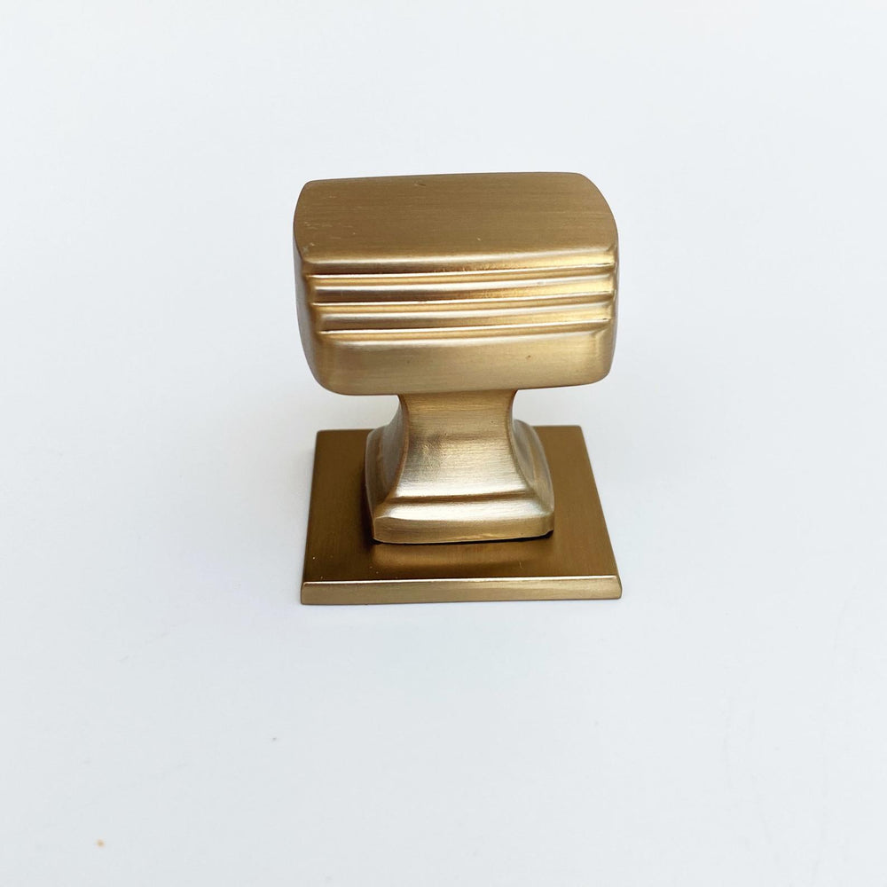 Satin Brass Square Art Deco Cabinet Knob w/ Backplate