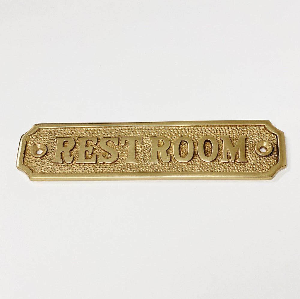 "Brass ""Restroom"" Door Sign 5-1/4"" x 1-1/4"" - Brass Bathroom Door Sign"
