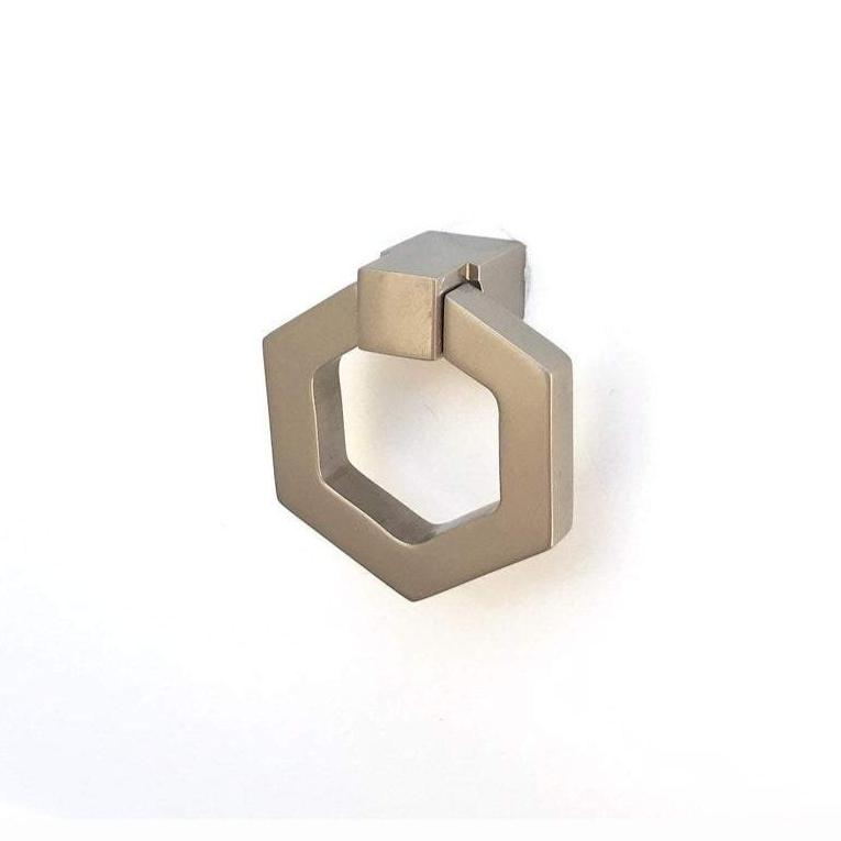 Zimi Satin Nickel Octagon Ring Pull - Brass Cabinet Hardware