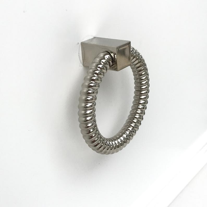 "Polished Nickel ""Rope"" Ring Pull Cabinet Knob - Brass Cabinet Hardware"