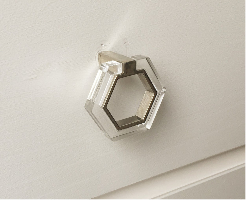 Polished Nickel And Lucite Geometric Modern Pull Lucite