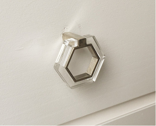 Lucite and Chrome Modern Knob Pull