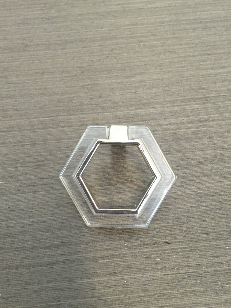 Polished Nickel and Lucite Geometric Knob - Brass Cabinet Hardware