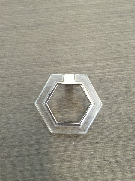 Chrome and Lucite Geometric Modern Pull - Lucite Knobs - Cabinet Knob - Brass Cabinet Hardware