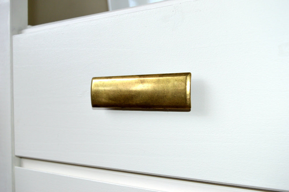 "Rectangular Drawer  ""Roman"" Pulls in Antique Brass - Brass Cabinet Hardware"