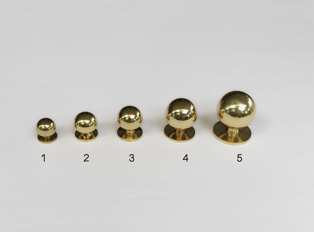 Solid Polished Brass Ball Knob Mid Century Modern Drawer