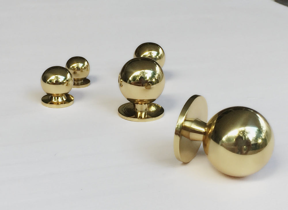 "Polished Brass ""Lili"" Ball Round Cabinet Knob - Brass Cabinet Hardware"