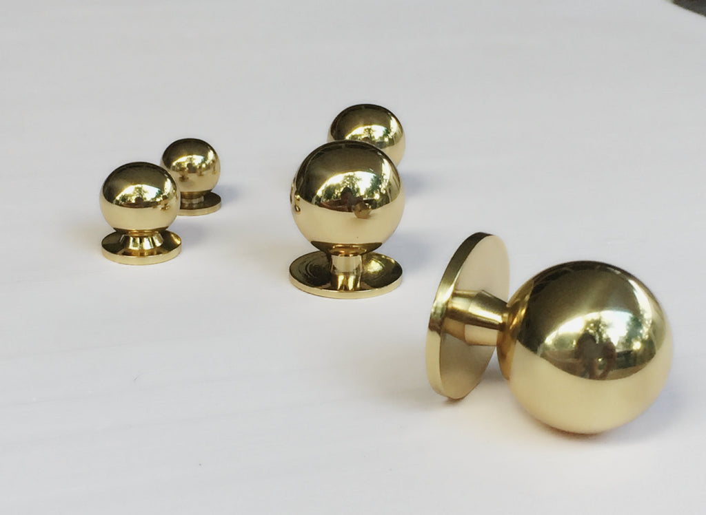 Solid Polished Brass Knob - Mid-Century Modern Drawer Pull Cabinet ...
