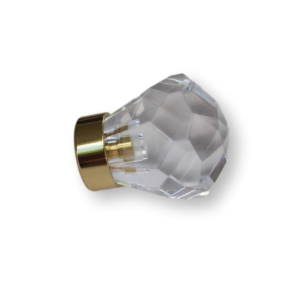 Lucite Faceted Brass Cabinet Knob