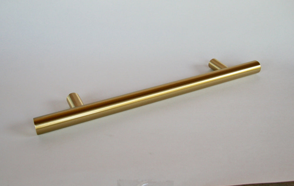 "Satin Brass Fridge T-Bar 8"" Appliance Pull - European Pull - Brass Cabinet Hardware"