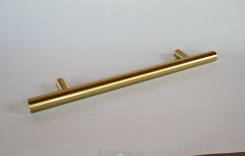 "8"" Appliance Pull - European T-Bar Brass -Fridge Pull in Satin Brass"