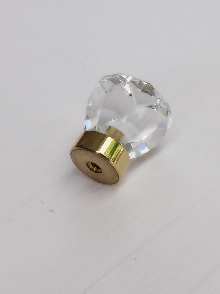 Lucite Faceted Brass Cabinet Knob - Brass Cabinet Hardware
