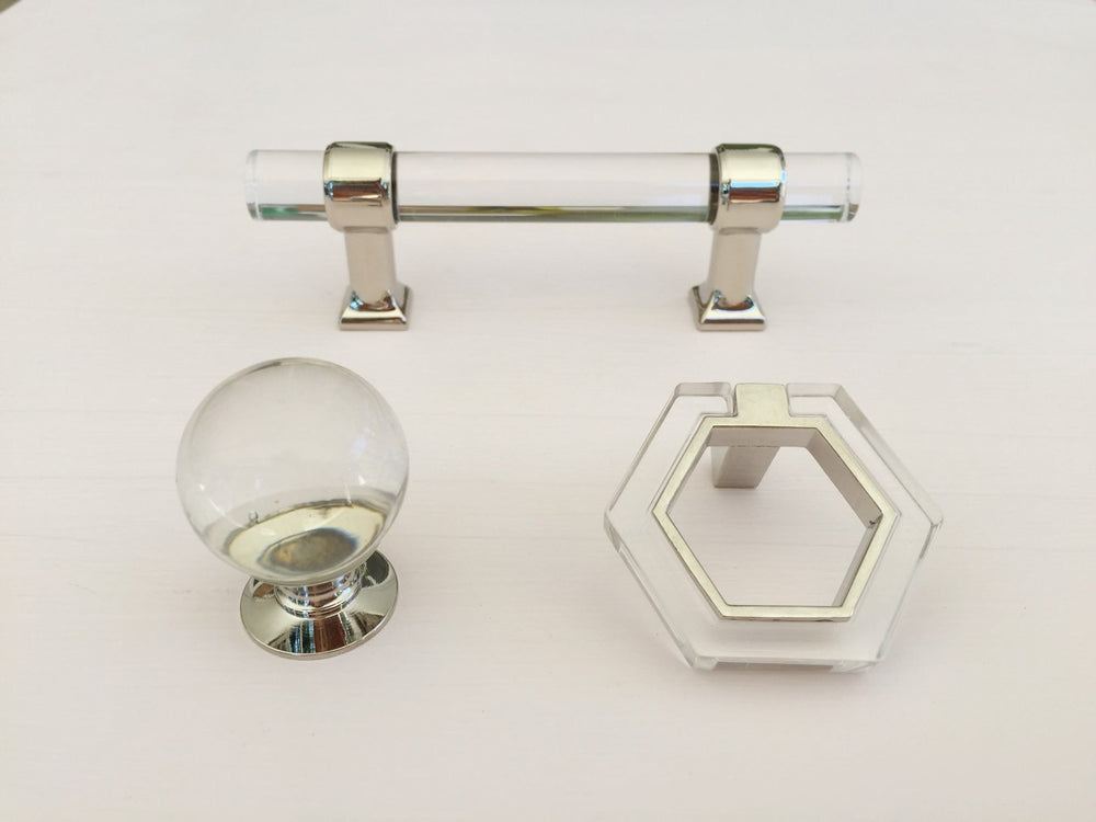 Polished Nickel Lucite 3 Quot Modern Drawer Pull Forge