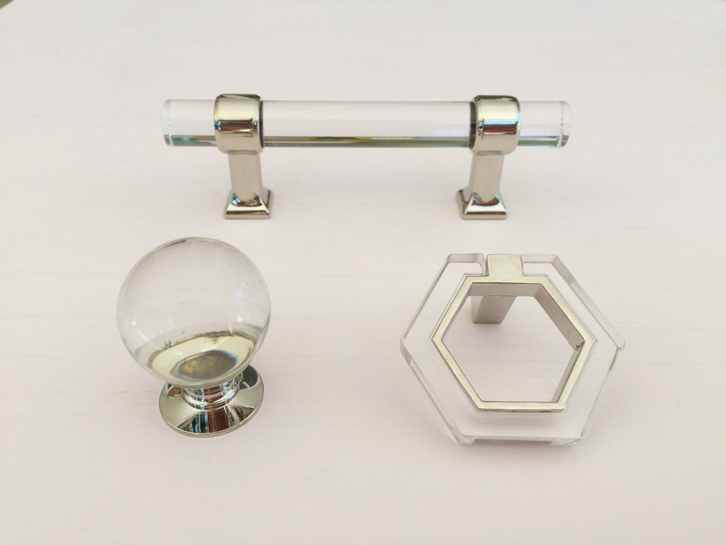 chrome and lucite modern cabinet pull knob chic moderne  brass cabinethardware. polished nickel lucite  modern cabinet pull knob chic moderne