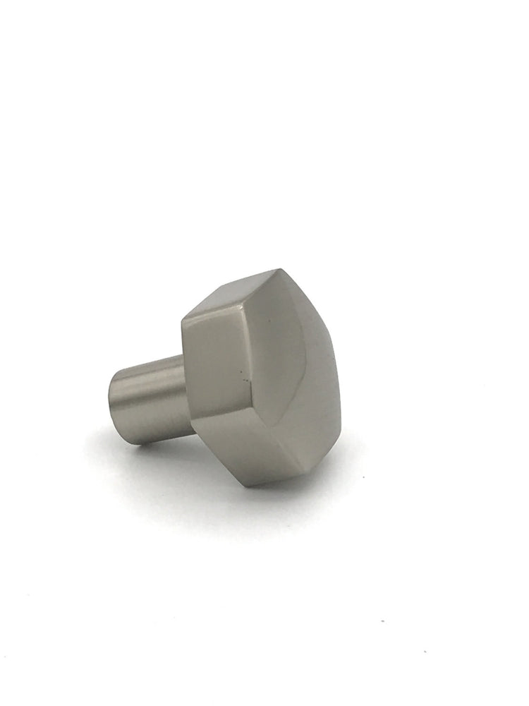 Mod Hex Satin Nickel Knob Geometric Cabinet Hardware
