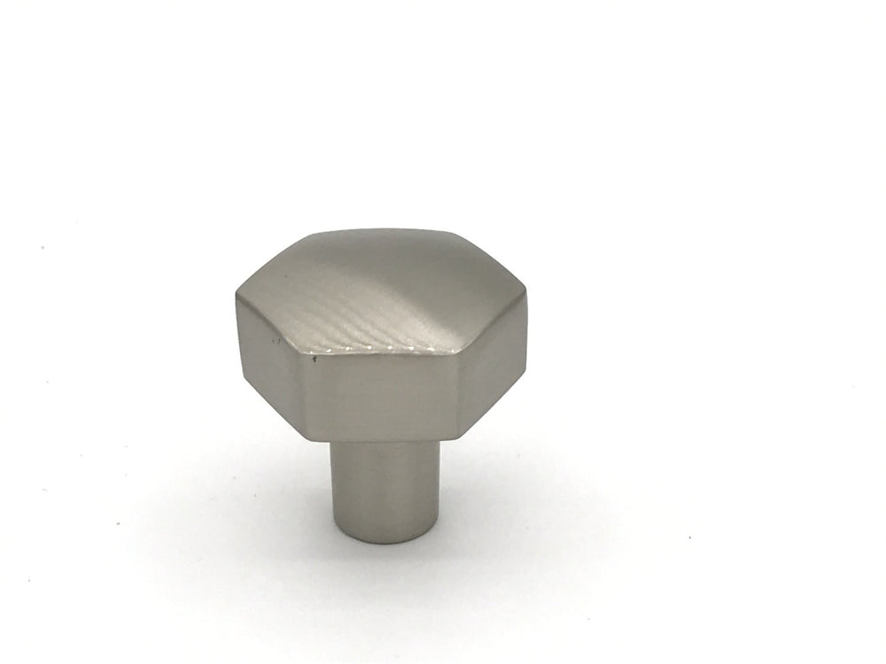 Mod Hex Satin Nickel Knob - Geometric Cabinet Hardware - Brass Cabinet Hardware
