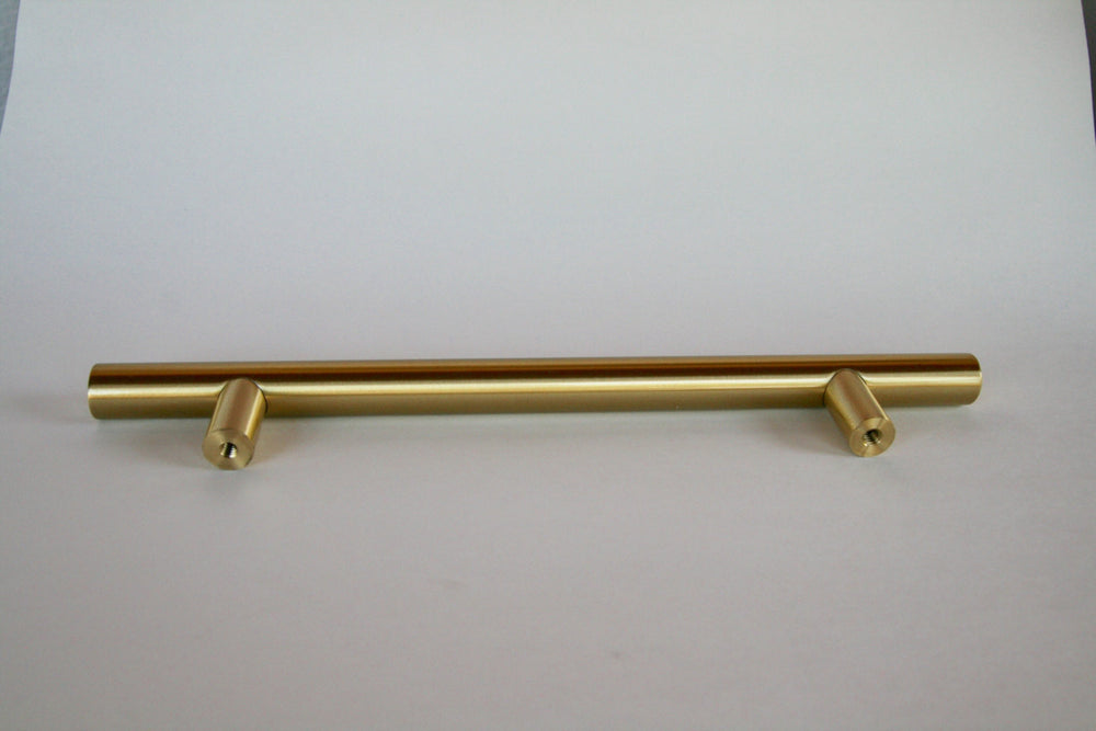 "Fridge 8"" Appliance Pull - European T-Bar Brass -Fridge Pull in Satin Brass - Brass Cabinet Hardware"