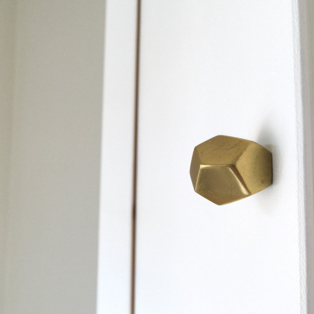 Geometric Gold Cabinet Knob Faceted Drawer Pull Forge