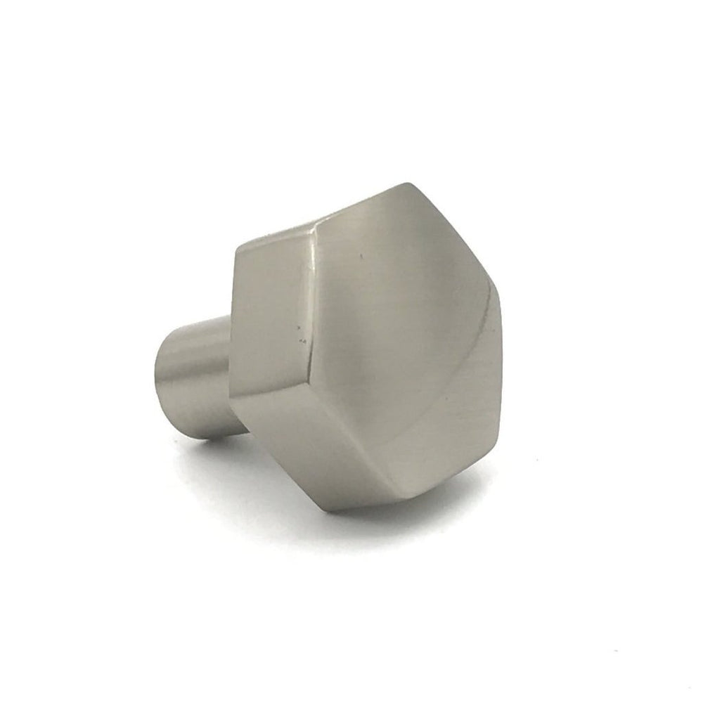 Mod Hex Satin Nickel Knob - Geometric Cabinet Hardware