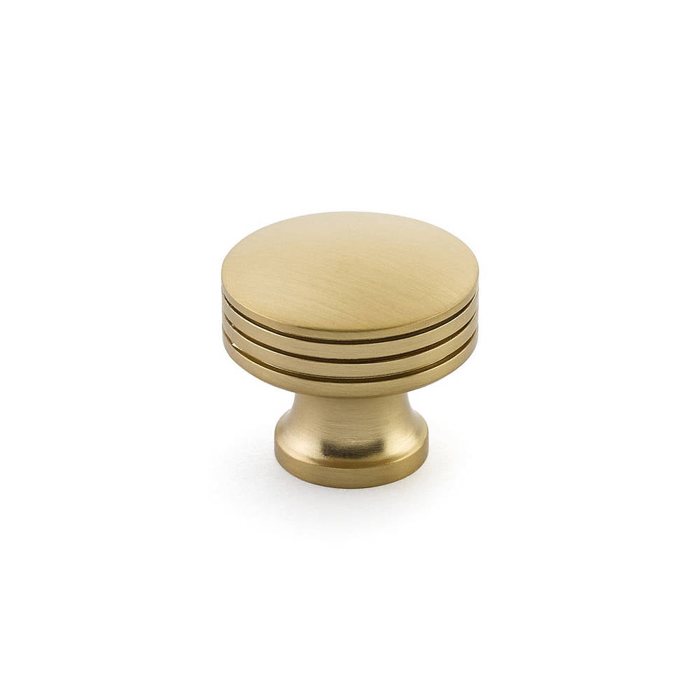 Menlo Park Brass Cabinet Round Drawer Knob - Kitchen Drawer Handle - Brass Cabinet Hardware