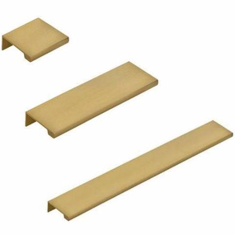 Dina Satin Brass Tab Finger Drawer Pulls in Various Sizes