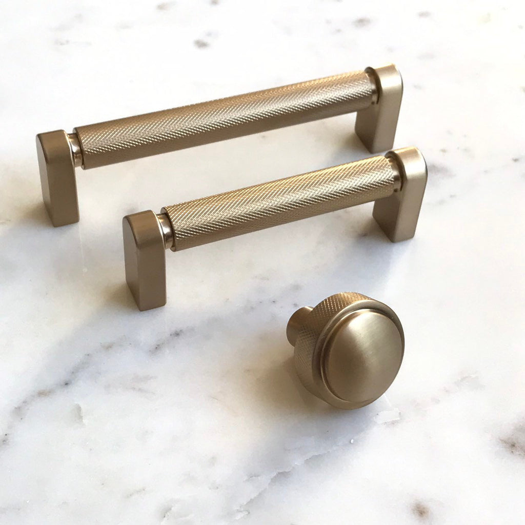 Diamond Texture Champagne Bronze Drawer Pulls And Cabinet