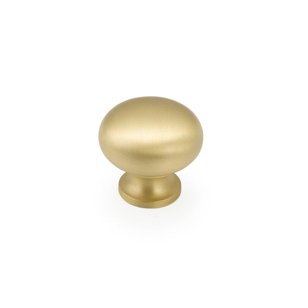 "Round Brass Cabinet Knob ""Transitional"" in Satin Brass - Brass Cabinet Hardware"