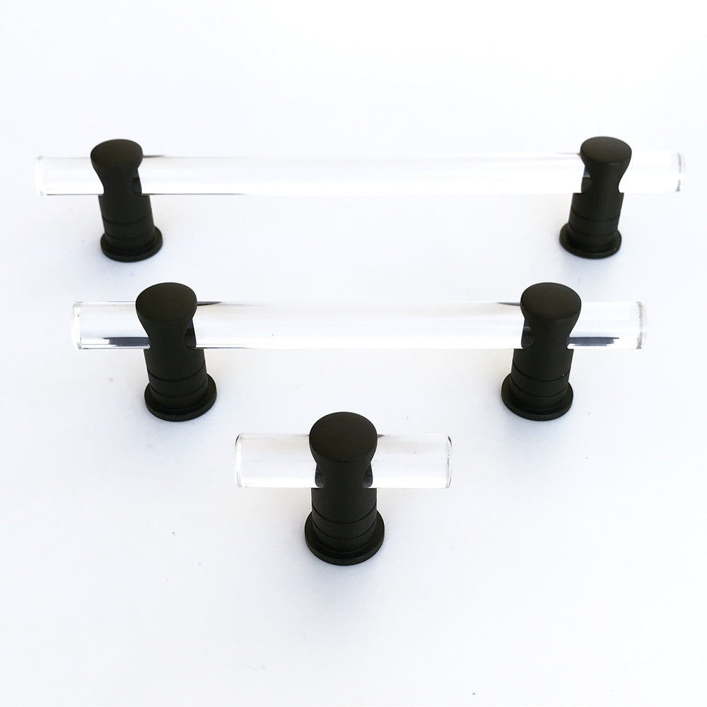 "Matte Black and Lucite ""Luz"" Cabinet Knobs and Drawer Pulls (Adjustable)"