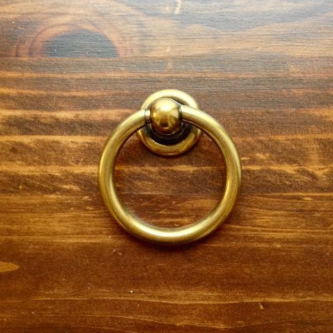 Plain Brass Ring Pulls Hardware Cabinet Pull Drawer Pull   Brass Cabinet  Hardware