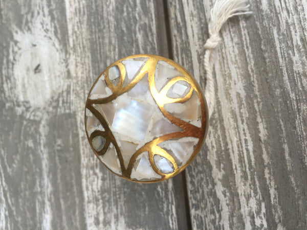 Mother of Pearl Modern Gold Cabinet Knob - Drawer Pull - Brass Cabinet Hardware