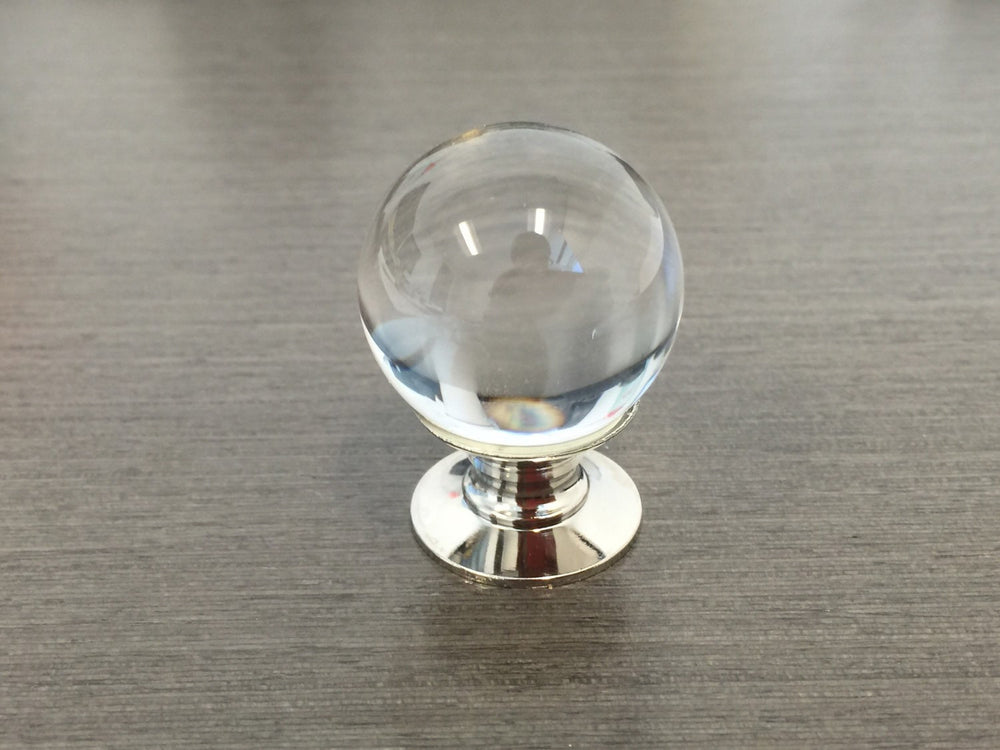 Polished Nickel and Lucite Ball Cabinet Knob - Brass Cabinet Hardware