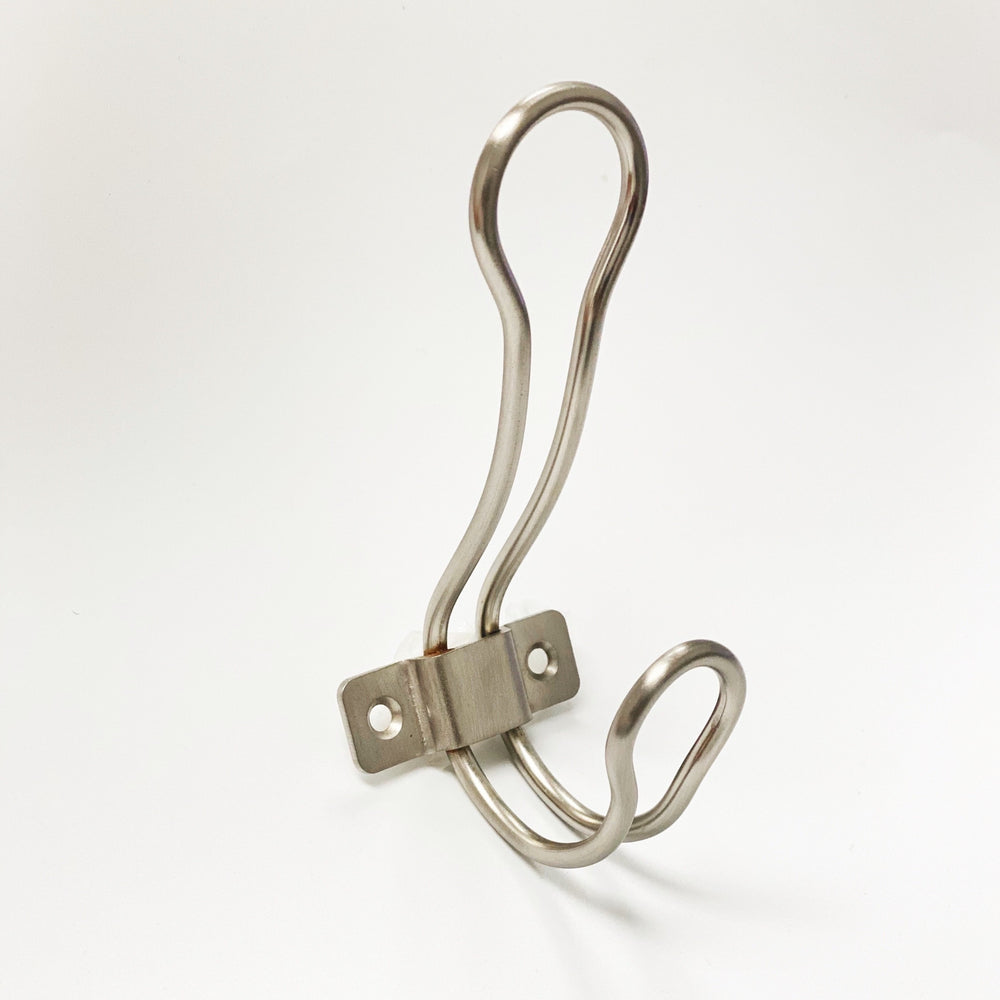 "Modern ""Loop"" Satin Nickel Wall Coat and Hat Hook"