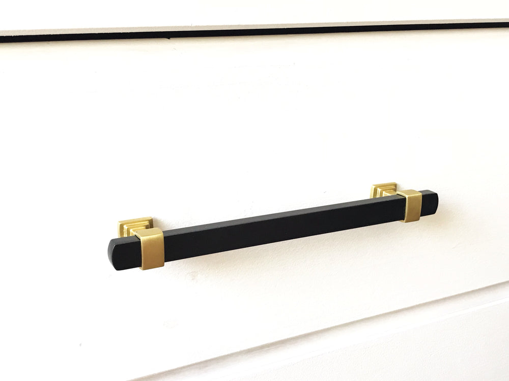 Mack Brass and Black Knob and Drawer Pulls - Brass Cabinet Hardware