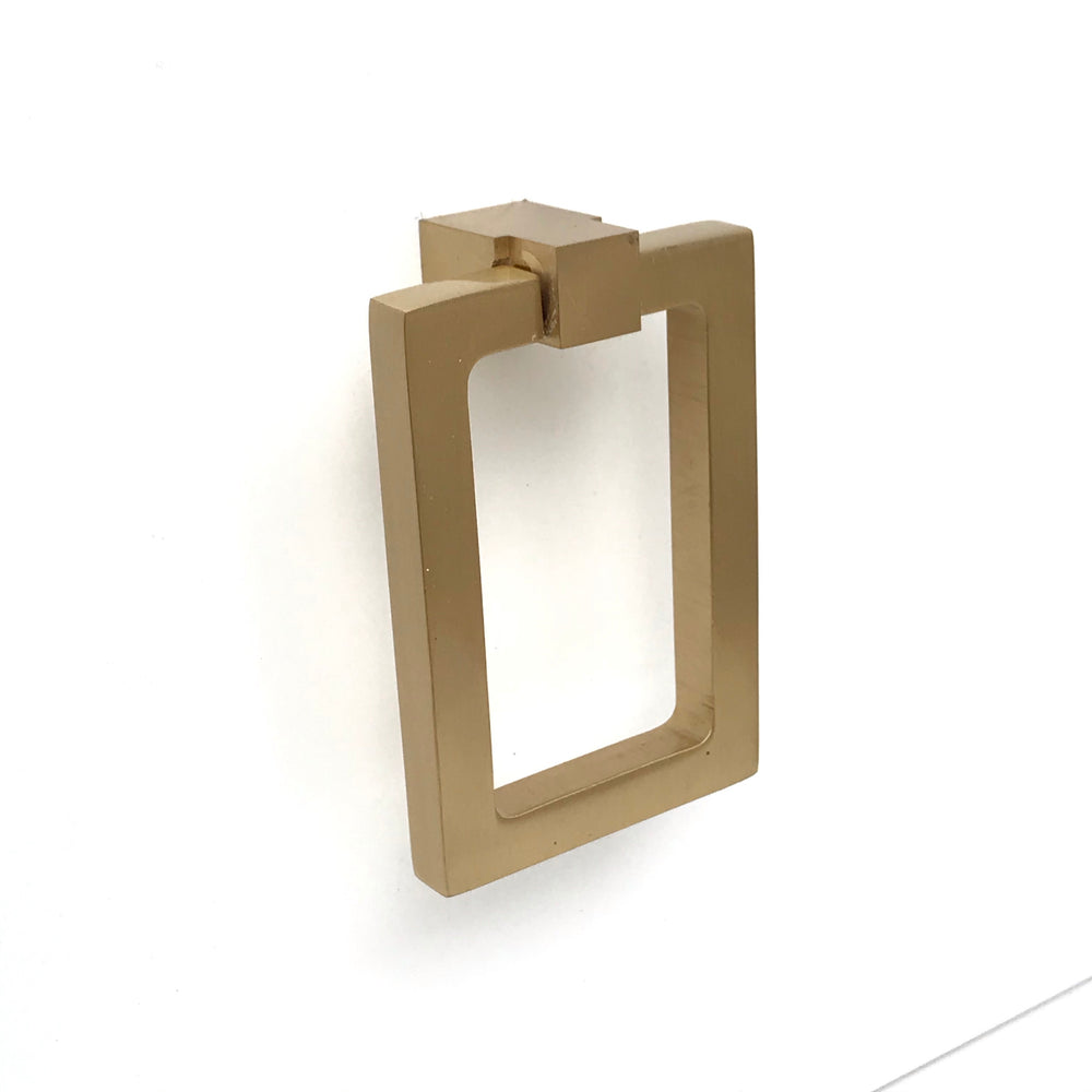 Zimi Rectangular Ring Pull in Satin Brass - Brass Cabinet Hardware