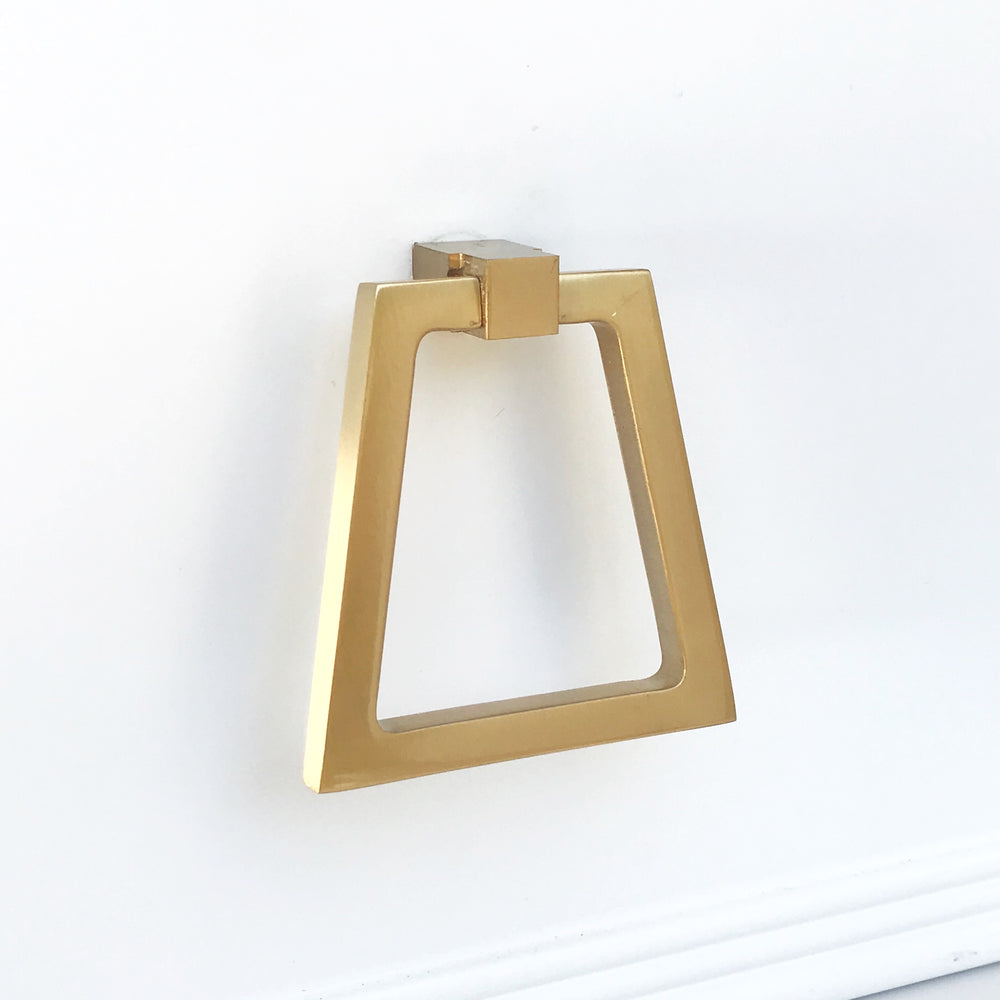 Zimi Triangular Oversized Ring Pull in Satin Brass - Brass Cabinet Hardware