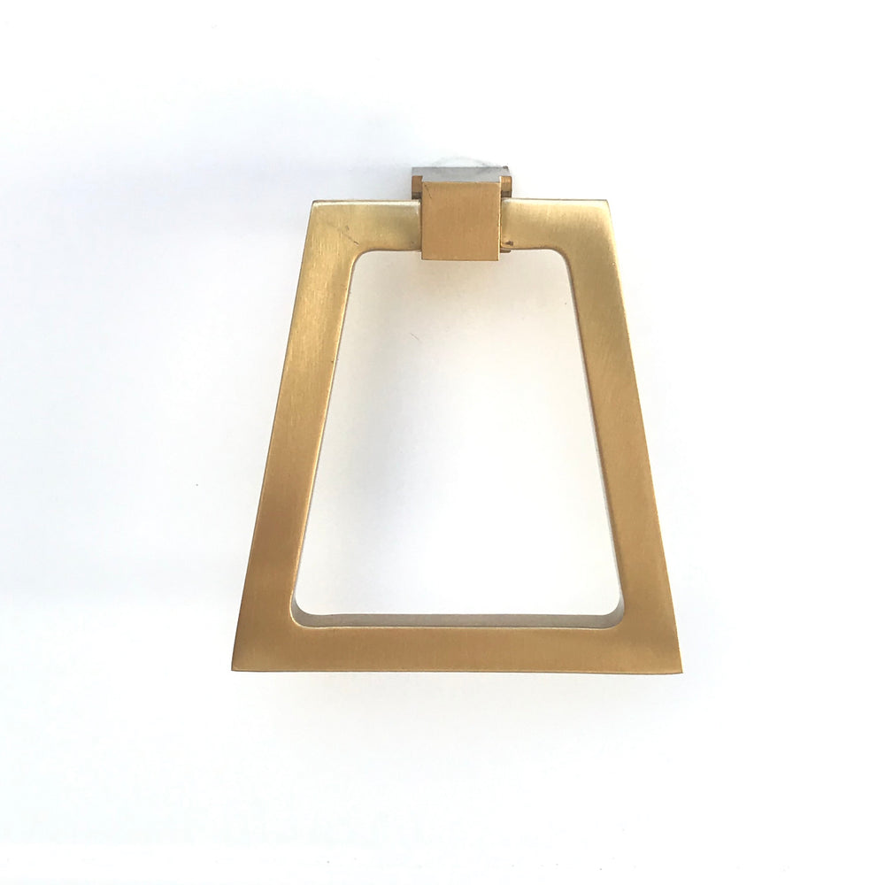 Zimi Triangular Oversized Ring Pull in Satin Brass