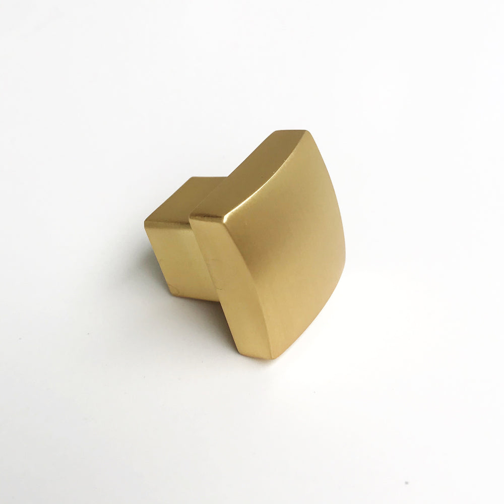 "Modern Brushed Brass ""Beam"" Drawer Handles and Cabinet Knob - Brass Cabinet Hardware"